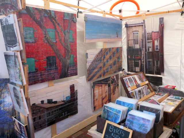 photography printed on reclaimed wood by melissa kristensen smith at artfest ontario in distillery district toronto