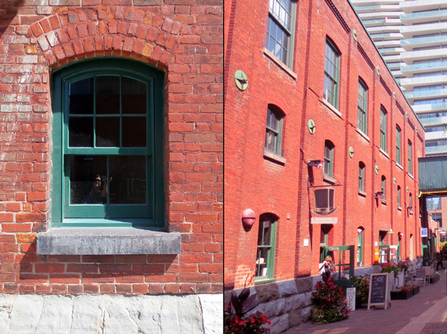 red brick green trim in toronto distillery district historic site