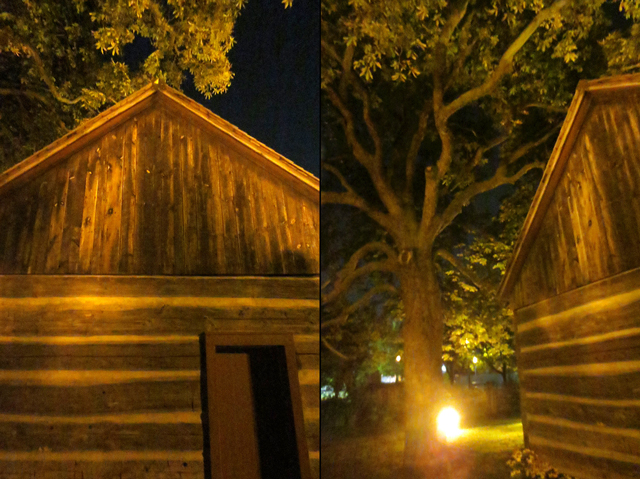 scadding cabin torontos oldest building at night