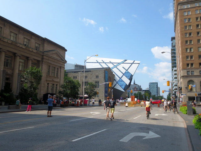 toronto bloor street during open streets event at avenue road with rom in background