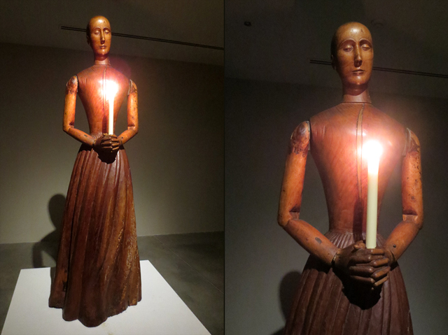 wooden manikin with candle at ydessa hendeles art installation power plant gallery toronto