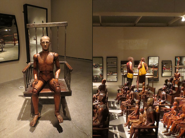 wooden manikins and fun house mirrors at power plant gallery toronto by ydessa hendeles