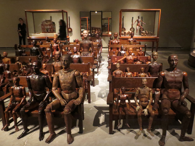 wooden mannequins on pews ydessa hendeles art installation power plant toronto