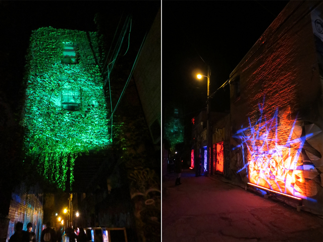 light installation in toronto alleyway for nuit blanche 2017