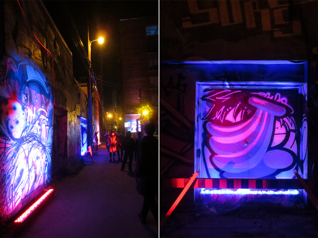 nuit blanche art show toronto disturbing graffiti independent light installation in alleyway
