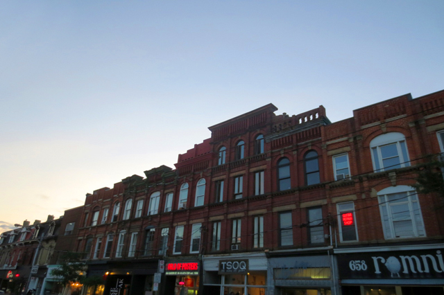 queen street west toronto historic buildings at dusk