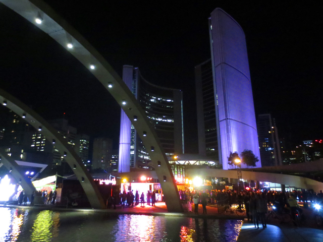 toronto nathan phillips square during nuit blanche all night art show 2017