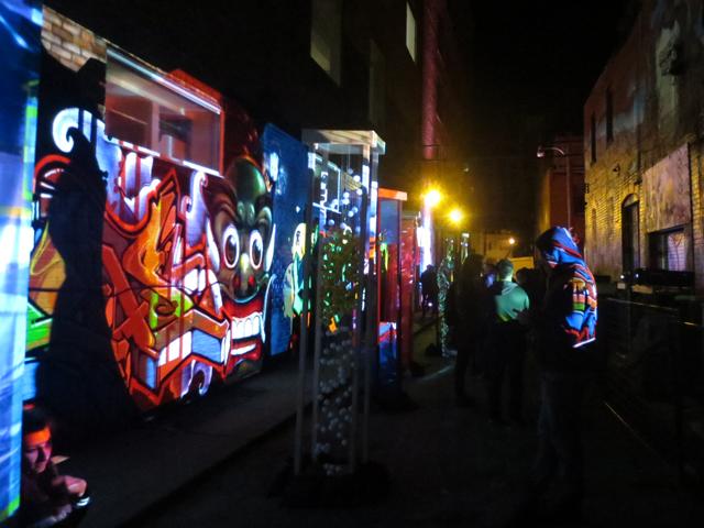 toronto nuit blanche 2017 disturbing graffiti light installation by studio f minus