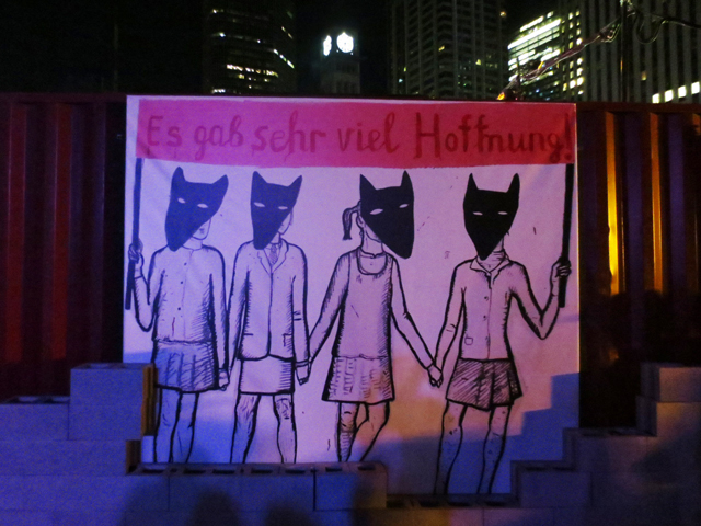 toronto nuit blanche 2017 part of monument to the century of revolution at nathan phillips square