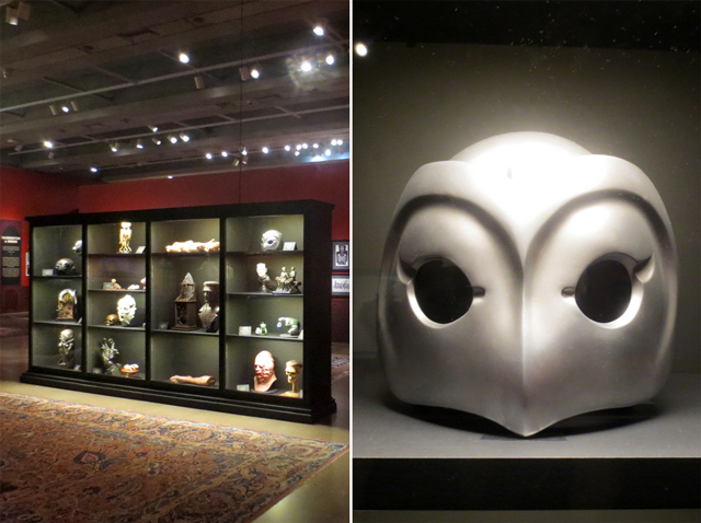 case of masks and busts and prop from movie phanton of the paradise at ago toronto guillermo del toro show