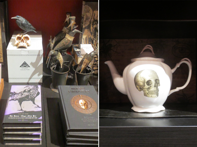 edgar allan poe gifts and skull teapot at ago gift shop pop up for guillermo del toro exhibition