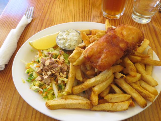 fish and chips at rock salt restaurant salt spring island canada