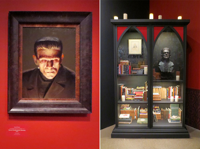 frankenstein painting and bookcase at ago toronto guillermo del toro at home with monsters