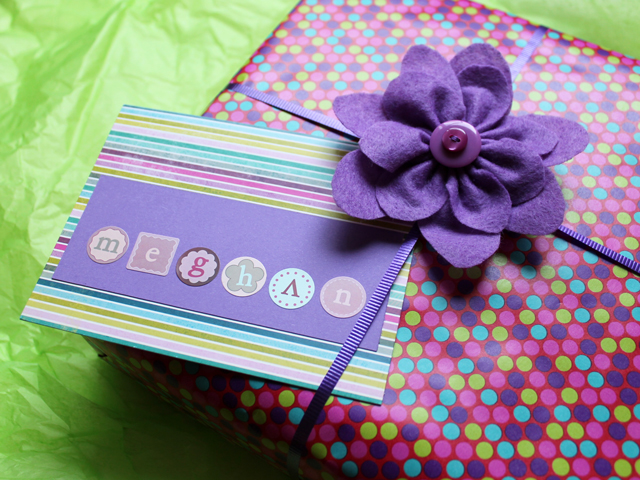 gift with handmade bow felt flower and greeting card