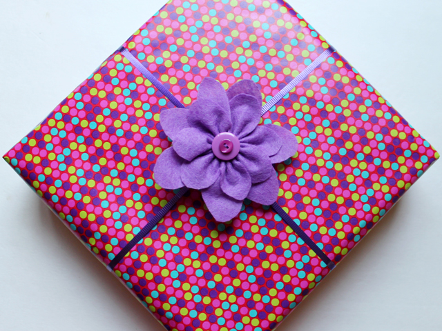 gift wrapped with handmade bow felt flower topper diy how to