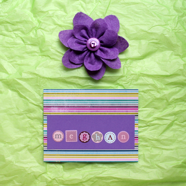 handmade felt gift topper and greeting card