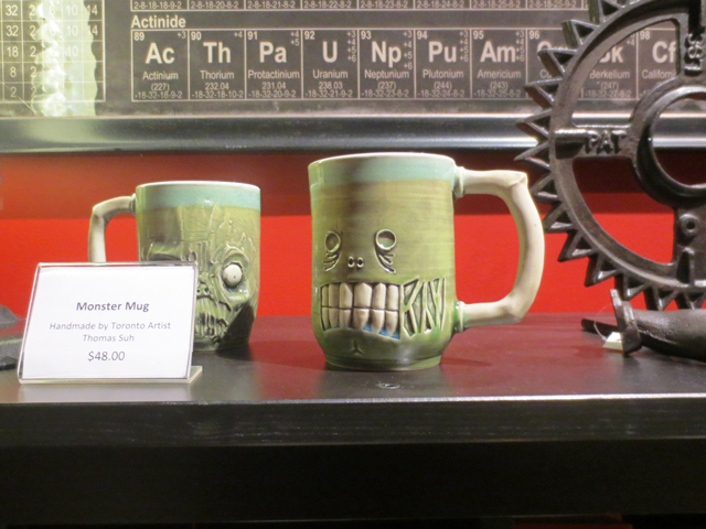 handmade monster mugs by artist thomas suh at ago guillermo del toro exhibit gift shop