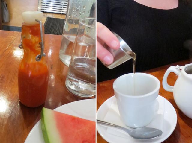 homemade hotsauce and honey for tea