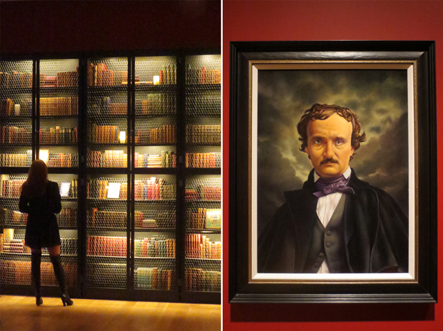 library of very old books and portrait of edgar allan poe at ago toronto guillermo del toro at home with monsters exhibition