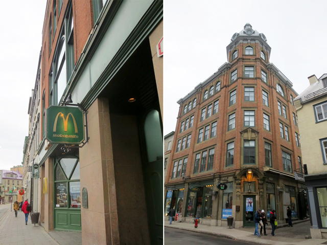 mcdonalds and shops in old quebec city