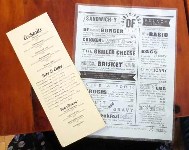 menu at dirty food eatery