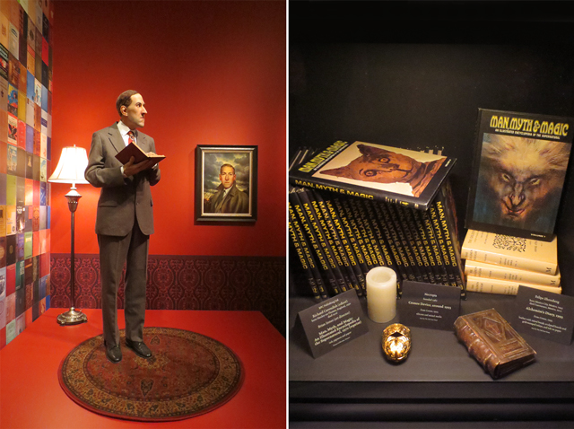 model and painting of hp lovecraft and man myth and magic books part of guillermo del toro collection at ago toronto