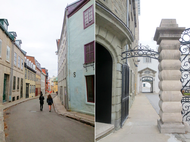 narrow street and gateway historic quebec city