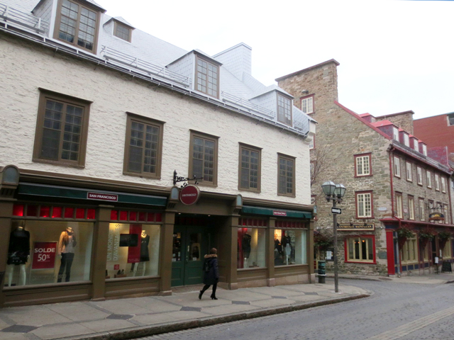 row of shops in historic buildings quebec city canada