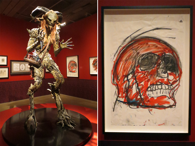 satyr from pans labyrinth and drawing by john scott at ago guillermo del toro exhibition