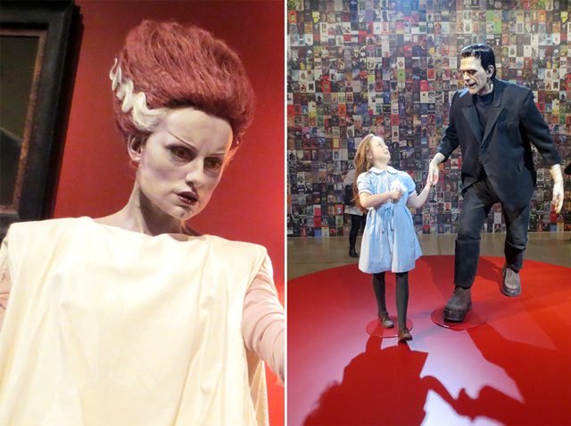 sculptures of bride of frankenstein and frankenstein at ago toronto guillermo del toro exhibition