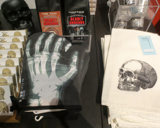 skull and skeleton themed gifts at ago pop up shop for guillermo del toro exhibition toronto