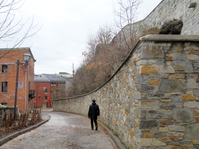 walking in old section of quebec city canada