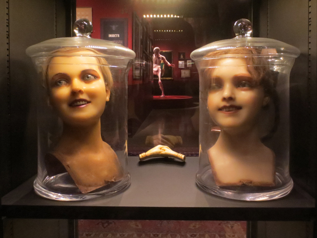 wax heads part of guillermo del toro collection at home with monsters at AGO Toronto