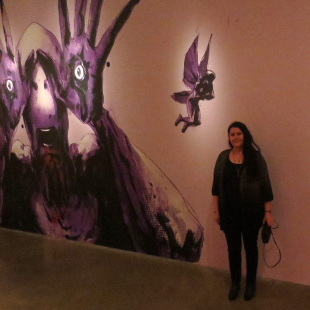 with purple mural