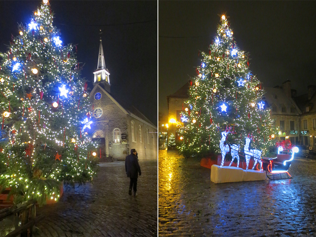 big christmas tree at night old quebec city canada