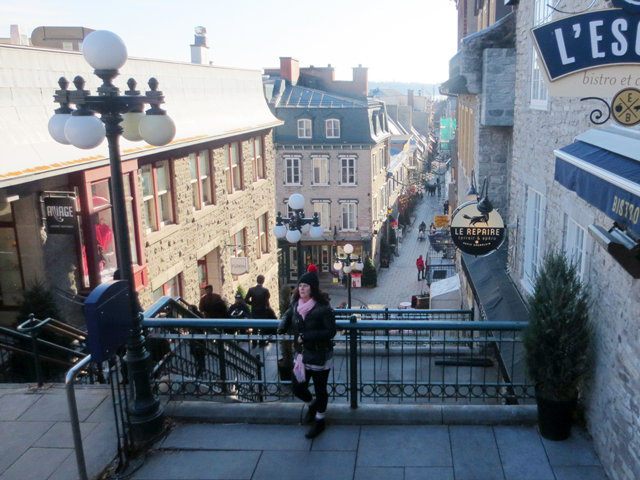 breakneck stairs historic quebec city canada