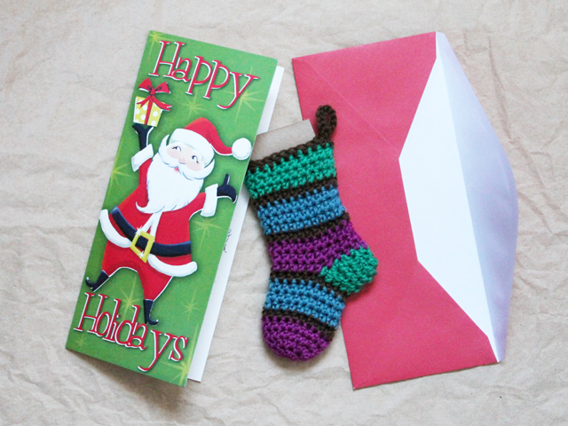 crocheted mini stocking enclosed in christmas stocking