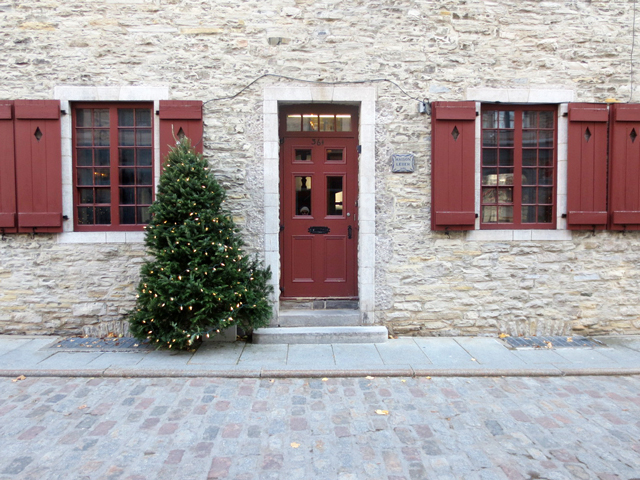 historic building with christmas tree quebec city canada