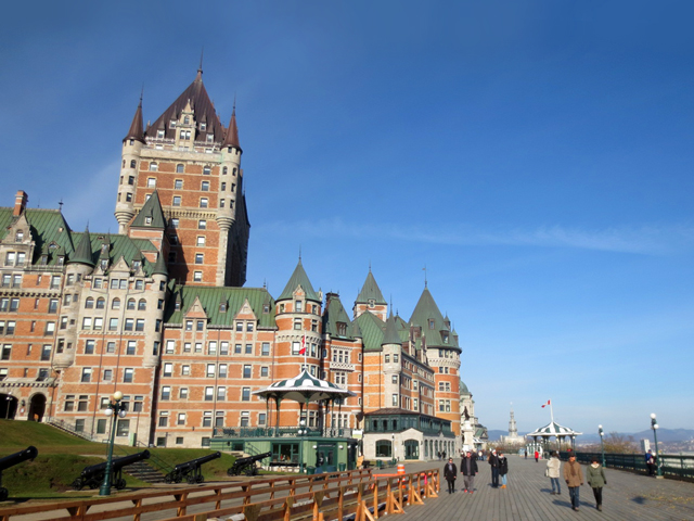 looking eastward towards chateau frontenac hotel quebec city canada