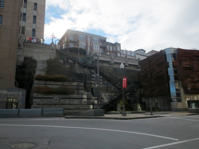 looking towards staircase outside old part of quebec city canada