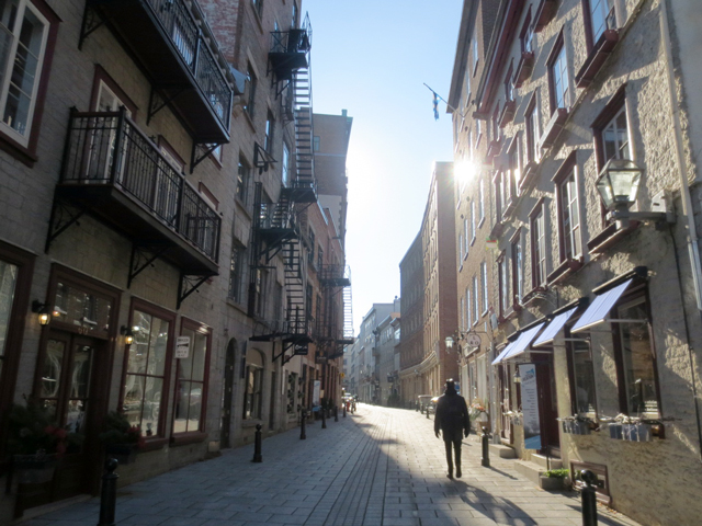 narrow streets with old buildings quebec city canada