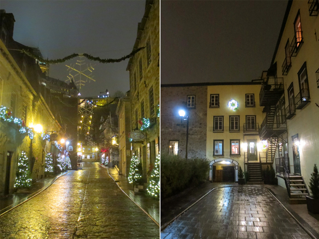old quebec city at night