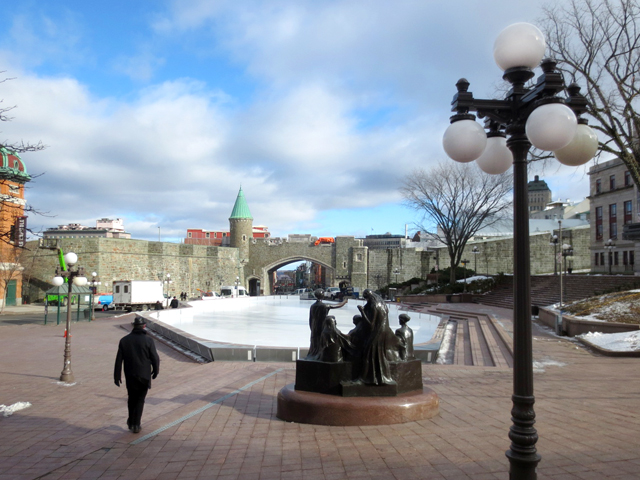 stone wall surrounding old quebec city canada seen from outside