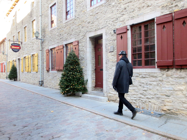 walking in old quebec city at christmastime canada