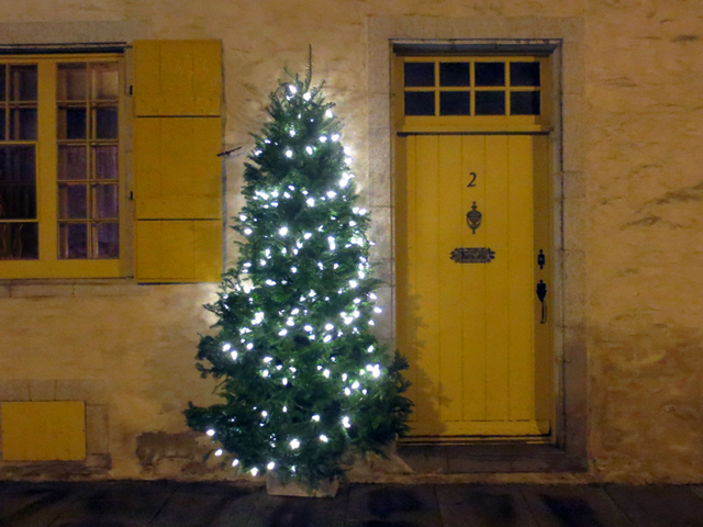 yellow door with christmas tree old quebec city