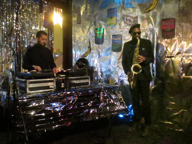 DJ Gramera and Dennis P on sax the gladstone hotel new years eve party toronto