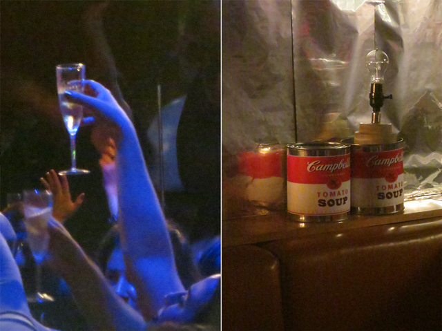 champagne and soup cans