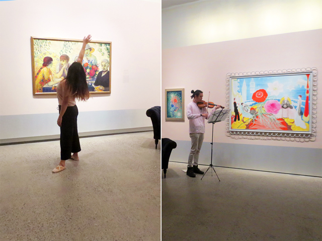 dancer Danah Rosales and violinist Aaron Cheung at ago blank canvas give me a beat show within florine stettheimer exhibit