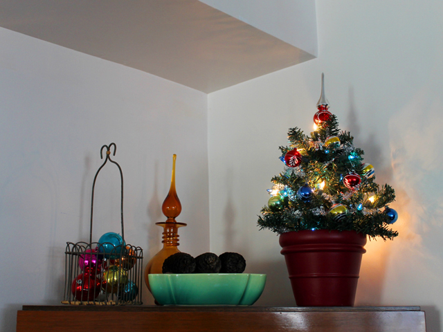 decorations on top of cabinet