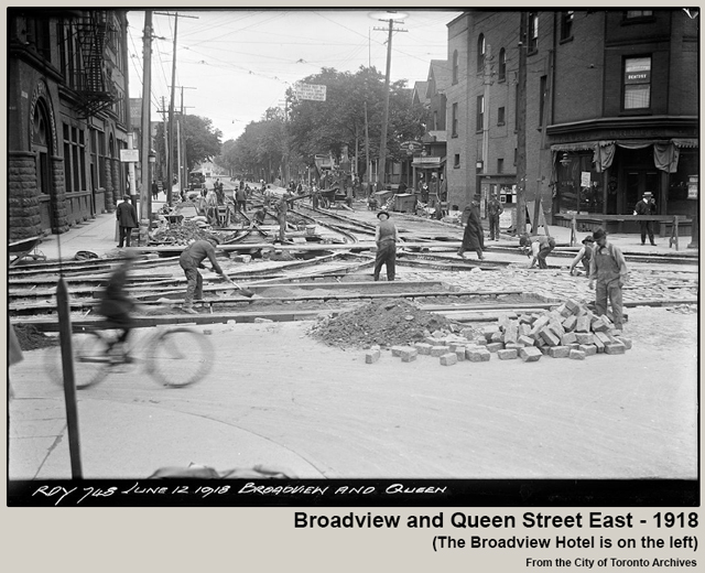 historic photograph toronto broadview and queen street east 1918